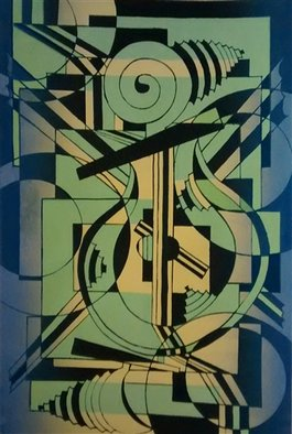 Edelweiss Calcagno; Apollos Lyre, 2015, Original Printmaking Other, 15 x 22.5 inches. Artwork description: 241 Music, abstract, cubist, Screen Printing...