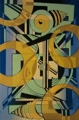 Edelweiss Calcagno; Apollos Lyre Version 2, 2015, Original Printmaking Other, 15 x 22.5 inches. Artwork description: 241 Music, abstract, cubist ...