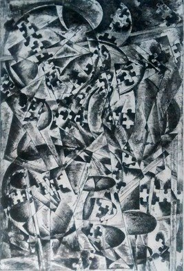 Edelweiss Calcagno; Illusion, 2015, Original Printmaking Etching, 15.5 x 22.5 inches. Artwork description: 241  Cubist ...