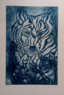 Edelweiss Calcagno; The Guardians, 2014, Original Printmaking Etching, 14.5 x 22.5 inches. Artwork description: 241  Animal, wolf, transparency, etching, print unique...