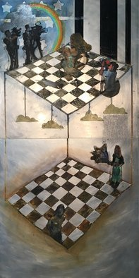 Edem Elesh; Realms, 2020, Original Mixed Media, 24 x 48 inches. Artwork description: 241 The two realities of life as I see it.  What we perceive, and what media promotes, and the alternate world beyond our physical perceptions.  I am also addressing on going weather manipulation and the distractions put in place by the big 6 media corporations.  Collection of Nakhon ...