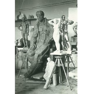 Zlatan Stoilov; Atelier, 1976, Original Sculpture Bronze,   cm. Artwork description: 241  atelier                    ...