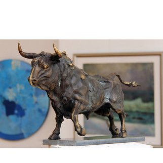 Zlatan Stoilov; Bull2, 2014, Original Sculpture Bronze, 30 x 60 cm. Artwork description: 241  bull1 animalscows2 figurative nature...