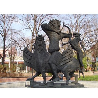 Zlatan Stoilov; Hunting Scene, 1982, Original Sculpture Bronze,   cm. Artwork description: 241  hunting scene                 ...