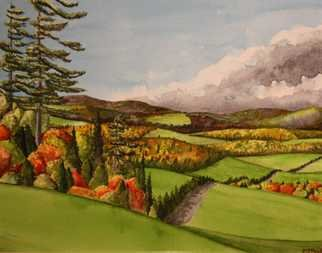 Edward Reid; October Hills Northumberl..., 2010, Original Watercolor, 25 x 20 cm. Artwork description: 241  Nature October Canadian Thanksgiving Northumberland County rolling hills autumn colours two tall pines sky gentle spirit here we stand      ...