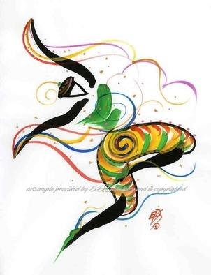 Eric Salisbury; Celebration Dancer Gesture, 2005, Original Reproduction, 8 x 10 inches. Artwork description: 241 Vibrant, energetic and warm with color.Arylic and Ink on paper....