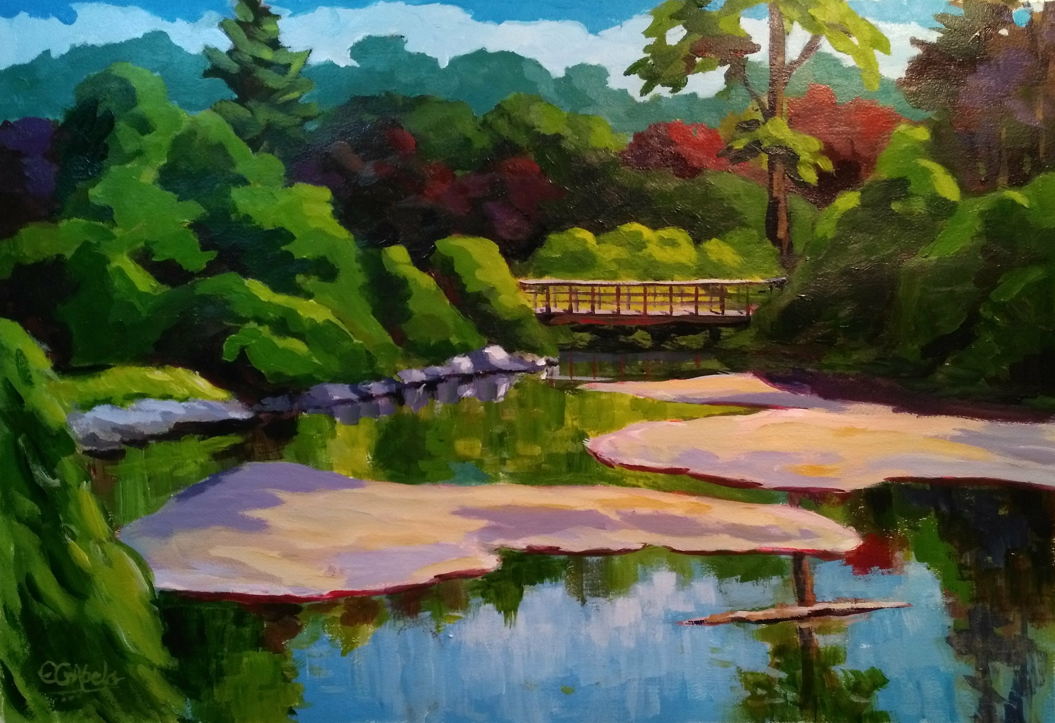 Edward Abela; Edwards Gardens Toronto, 2018, Original Painting Acrylic, 27 x 18 inches. Artwork description: 241 Acrylic painting on watercolour paper of beautiful Edwards Gardens, in Toronto, Ontario...