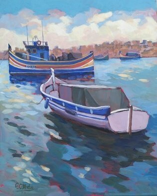 Edward Abela; Maltese Boats, 2018, Original Painting Acrylic, 20 x 16 inches. Artwork description: 241 Maltese fishing boats at Marsaxlokk harbour in the blue mediterranean...