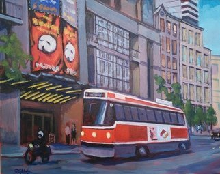 Edward Abela; Toronto Theatre District, 2018, Original Painting Acrylic, 20 x 16 inches. Artwork description: 241 Street car along King street, Toronto in front of the theatre showing the Phantom of the Opera. ...