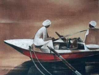 Ehab Lotfi; Night Fishing, 2007, Original Painting Acrylic, 30 x 36 cm. Artwork description: 241  acrylic on canvas on board ( 2007) .night fishing on a felluca on the river nile in egypt at aswan. ...