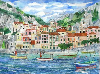 Eileen Seitz; Amafi From The Sea, 2014, Original Printmaking Giclee, 24 x 18 inches. Artwork description: 241 when I was off the shores of Amalfi, Italy I saw this and was completely inspired...