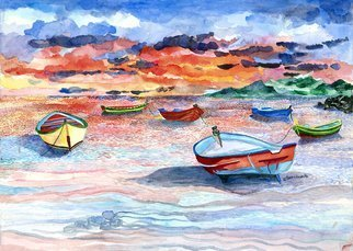 Eileen Seitz; Sunset On The Sea, 2014, Original Watercolor, 24 x 18 inches.