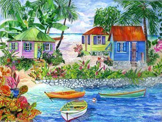 Eileen Seitz; Bungalows On Sandy Cove, 2015, Original Giclee Reproduction, 30 x 22 inches. Artwork description: 241 3 Beach houses along a tropical Cove...
