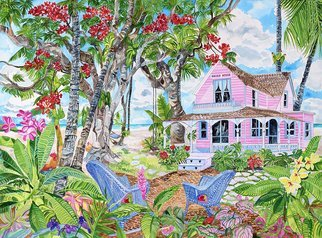 Eileen Seitz; Haven House, 2017, Original Watercolor, 30 x 22 inches. Artwork description: 241 Old Fashioned wooden house in a beautiful garden setting...