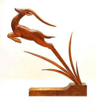 Eisa Ahmadi; Leaping Gazelle, 2014, Original Sculpture Wood, 55 x 135 cm. Artwork description: 241 A beautiful, high fearless jump toward unknown to drag us into gazelles' role in ancient Iranian Miniature, Literature and Poems. You have not seen a gazelle to know what an escape is.You have been in the moor to know what the hunting is.A completely handmade ...