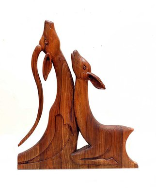 Eisa Ahmadi; lovers, 2010, Original Sculpture Wood, 60 x 70 cm. Artwork description: 241 It expresses the beauty of dignified love in deer as a symbol of love, tenderness and freedom in Iranian old literature.A symbol of platonic love that man is burning for is perhaps the reason behind creating this artwork. A completely handmade artwork made of walnut wood. ...