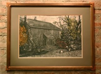 Eric Jorgenson; Vacation Home, 2008, Original Drawing Other, 30 x 21 inches. Artwork description: 241  Subtractive drawing over textured and colored gesso. Custom miter- dovetail frame, walnut and black cherry. ...