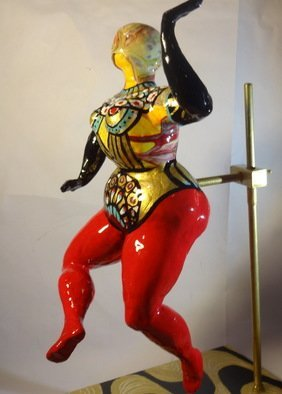 Manana N Saks ; Dancer 2, 2018, Original Sculpture Mixed, 6 x 16 inches. Artwork description: 241 Resin, acrylic, air- hardening clay on metal base...