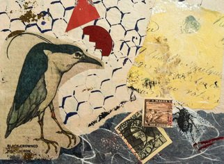 Elizabeth Bogard, Black Crowned Heron at 3 pm, 2015, Original Mixed Media,    inches