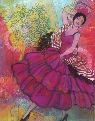 Elizabeth Bogard, Spanish Dancer, 2016, Original Mixed Media,    inches