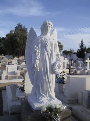 Andrew Wielawski; El Angel de la Ultima Voluntad, 2009, Original Sculpture Stone, 2 x 6 feet. Artwork description: 241  The title means, 'Angel of the Last Wish' , and was in fact the last desire of the man buried beneath it. He also wanted his tomb and remains to be carried to his home town of Delicias, Mexico. His last wishes were fully taken care of by ...