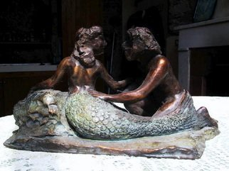 Andrew Wielawski; Mermaid and Fisherman, 2007, Original Sculpture Bronze, 14 x 9 inches. Artwork description: 241  In this piece, I'm going more for movement than for detail, as you can see from the lack of definition of the features. Color is used as well as the positioning of the figures, to try to create an harmonious composition. ...
