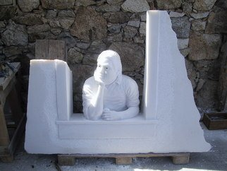 Andrew Wielawski; Mykonian Man, 2008, Original Sculpture Stone, 125 x 100 cm. Artwork description: 241  Mykonian man wants to know whether he shouild eat his apple, or try to sell it. ...