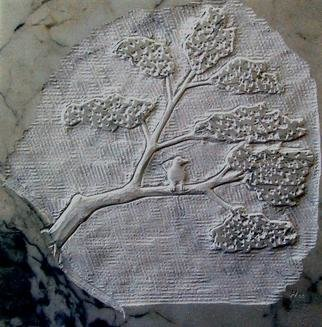 Andrew Wielawski; Tree with Bird, 2008, Original Sculpture Stone, 12 x 12 inches. Artwork description: 241  Passing the time until a block for a large sculpture came to Mexico, I carved this tree on a tile I found lying around the workshop. ...