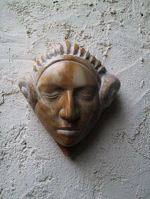 Andrew Wielawski, 'Giallodi Sienna Mask', 2002, original Sculpture Stone, 10 x 10  x 3 inches. Artwork description: 1911 The mask has Sicilian and Mexican influences, and is carved out of yellow Sienna marble. I use it often an element in my work because of the color being so strong....