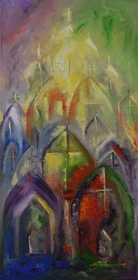 Ionescu Ionescu; hope, 2017, Original Painting Oil, 50 x 100 cm. Artwork description: 241 A sensible suggestion of Hope, divine light of the spirit reflected in the wonderful stained glass. Original oil painting on canvas stretched on a wooden frame , multi layered technique   painting knife and brush   , ready to hang, unframed but the edges are painted. Every painting is signed and ...