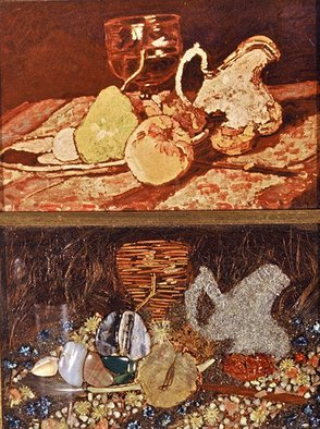 Elena Mary Siff; Nature Morte: Dead Nature, 2013, Original Collage, 7 x 9 inches. Artwork description: 241  Collage of a still life. . a print and a still life of stones, sand, flowers, etc. ...