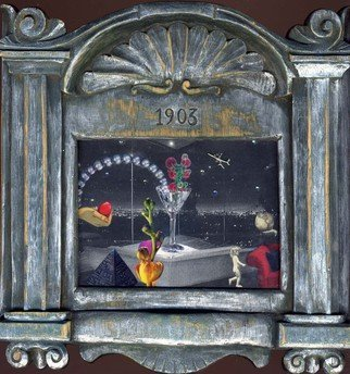 Elena Mary Siff; Post Modern, 2012, Original Collage, 6 x 8 inches. Artwork description: 241   Collage of surreal interior with cityscape in vintage frame     ...