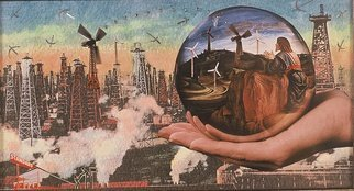 Elena Mary Siff; Power, 2013, Original Collage, 6 x 8 inches. Artwork description: 241    Collage of urban/ industrial landscape ...