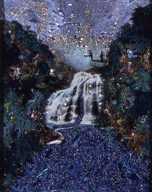 Elena Mary Siff; The Challenge, 2012, Original Collage, 9 x 11 inches. Artwork description: 241     Collage of landscape and waterfall with scene from Superman 1 film ...