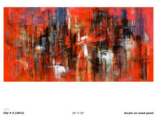 Ruben Valdes Montano; City 5, 2012, Original Painting Acrylic, 30 x 60 inches. Artwork description: 241       Joy of experiencing feelings as sensations, touch, breath, taste life, erotics emotions and projection of your fantasy and imagination.      ...