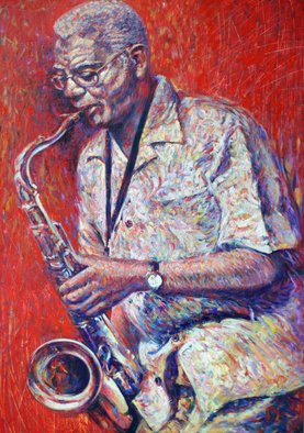 Ruben Valdes Montano; The Sax, 2012, Original Painting Oil, 40 x 60 inches. Artwork description: 241      Joy of experiencing feelings as sensations, touch, breath, taste life, erotics emotions and projection of your fantasy and imagination.     ...