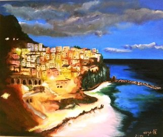 Eli Gross; Manarola Cinque Terre, Italy, 2014, Original Painting Oil, 50 x 60 cm. Artwork description: 241  Manarola Cinque Terre, Italy at night ...