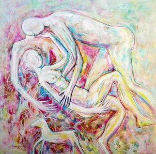 Elisaveta Sivas; Earth Connection, 2018, Original Painting Oil, 100 x 100 cm. Artwork description: 241 Contemporary original oil on canvas painting oil pastel lovers wisdom love man and woman bright colours figurative art by Elisaveta Sivas...