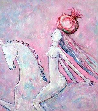 Elisaveta Sivas; Female On Horse, 2017, Original Painting Oil, 70 x 80 cm. Artwork description: 241 Delicately painted with attention to details oil on canvas painting.  FEMALE ON HORSE WITH MAGIC POMEGRANATE.  This painting inspires hope, love, harmony and truth.  The pomegranate is a symbol of prosperity, wisdom and good luck.  Positive, relaxing painting with calming and hopeful mood.  Signed on the front.  ...