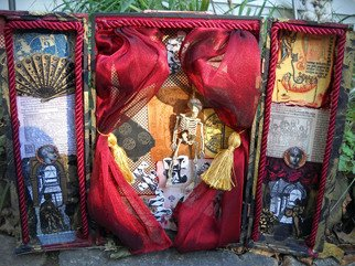 Elisha Sherman; Any Fools Fortune Box , 2011, Original Mixed Media, 14 x 9 inches. Artwork description: 241  14. 25 x 9 x 2. 5 in. ( 20 in. wide opened Repurposed Wine Box)The vice of gambling and Fortune finding are grimly illustrated in this box of charms and spells. The box is fully decorated throughout with fine papers, and inked with choice stamps.This ...