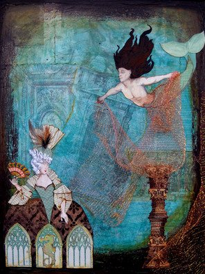 Elisha Sherman; The Merman Of Lost Atlantis, 2011, Original Mixed Media, 18 x 24 inches. Artwork description: 241  18 x 24 stretched Canvas Framed in dark goldThis is a whimsical fantasy piece portraying dreams of the lost continent and peoples of the mythological Atlantis. Here a Merman is portrayed as ready to ensnare a beautiful Maiden in his golden net.This piece was constructed ...