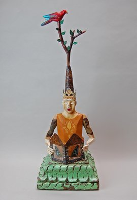 Elizabeth Frank; Butterfly Stories, 2018, Original Sculpture Mixed, 9 x 26 inches. Artwork description: 241 This figure is carved form fallen aspen branches.  It sits on a base made from an antique corbel from India.  Atop the head is a crown of tin with a twig holding carved leaves and a bird.  The figure holds a book made by the artist from ...