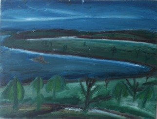 Vyacheslav Panichev; Northern Bay, 2015, Original Painting Oil, 41 x 31 cm. Artwork description: 241 andscape, forest, Bay, sea, lake, summer, wind, breeze, expressionism, grove, wood, copse, coppice...