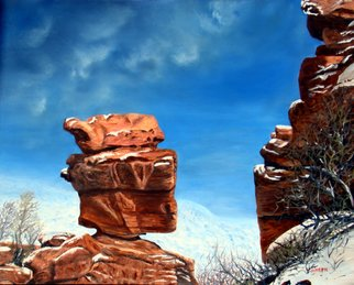 Ellen E Hinson; BALANCED ROCK, 2007, Original Painting Oil, 20 x 16 inches. Artwork description: 241  This is a beautiful original oil painting of Balanced Rock found in the Garden of the Gods in Colorado Springs, Colorado. ...