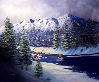 Ellen E Hinson; FISHING, 2007, Original Painting Oil, 24 x 18 inches. Artwork description: 241 This is an original oil painting of three bears that have wakened after a spring snow and are very hungry. Thus they are fishing in a cold mountain stream. The sun is shining through the clouds highlighting the bears. ...