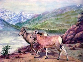 Ellen E Hinson; WILD SHEEP OF THE ROCKY M..., 2007, Original Watercolor, 9 x 7 inches. Artwork description: 241 This is an original watercolor painting of wild sheep that are found near Pikes Peak in Colorado. ...
