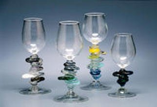 Eric Mead; Cairn Goblets, 2003, Original Glass Blown, 3 x 8 inches. Artwork description: 241 Globby stemmed wine goblets...