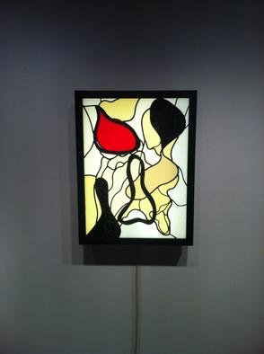 Eric Mead; Untitled 5, 2013, Original Glass Stained, 2 x 2 feet. Artwork description: 241   Illuminated Stained Glass panel designed from original print  ...
