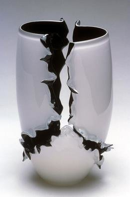Eric Mead; Emergence, 2004, Original Glass Blown, 8 x 16 inches. Artwork description: 241 black and white torn vessel...