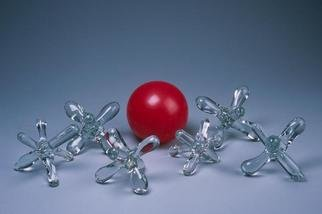 Eric Mead; Jacks, 2004, Original Glass Blown, 20 x 20 inches. Artwork description: 241 glass jacks with red ball ( weight and size given for each jack) ...